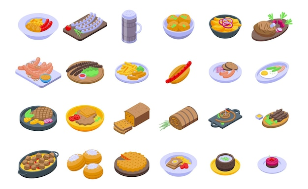 German cuisine icons set isometric vector. cafe sausage. chicken cooking