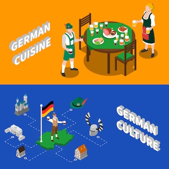 German culture for tourists isometric characters