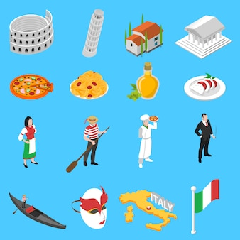 German culture traditions isometric icons collection