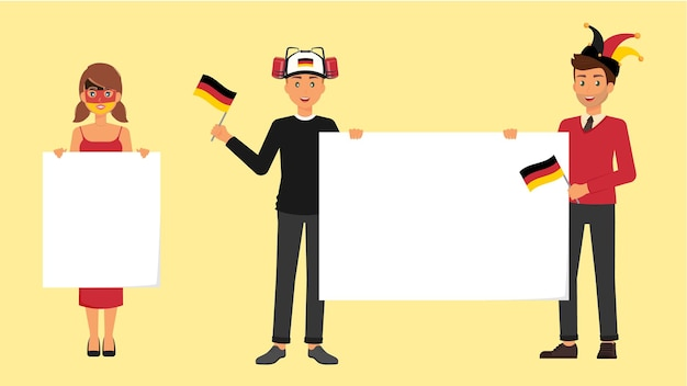 German fans with sportive accessories germany flag and blank banners