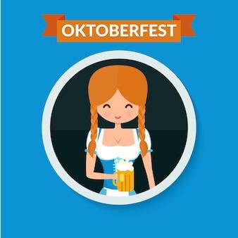 Портрет аватара круга немецкой девушки. блондинка в традиционной одежде с пивом. плоский octoberfest характер векторные иллюстрации.