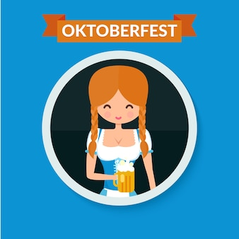 German girl circle avatar portrait. blonde girl in traditional dress with beer. flat octoberfest character vector illustration.