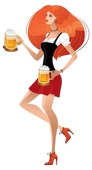 German girl serving beer on oktoberfest