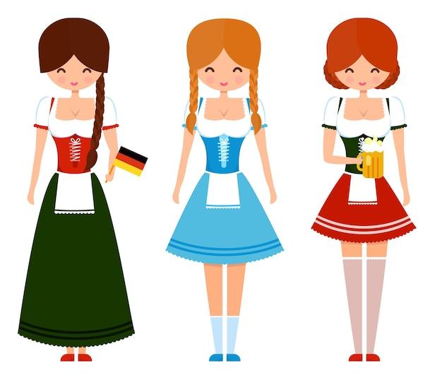 맥주와 깃발이 달린 전통적인 바이에른 복장을 한 독일 소녀들. 옥토버페스트 귀여운 벡터 문자 그림입니다.