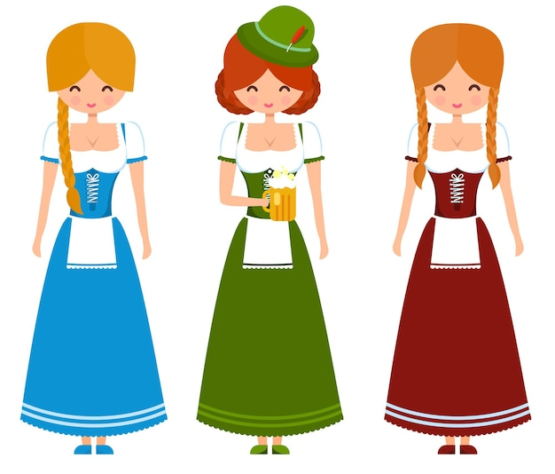 German girls in traditional bavarian dress with beer and flag. oktoberfest cute vector character illustration.