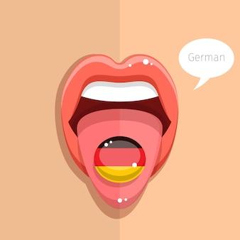 ドイツ語の概念。ドイツ語の舌はドイツの旗、女性の顔で口を開けます。フラットなデザインのイラスト。