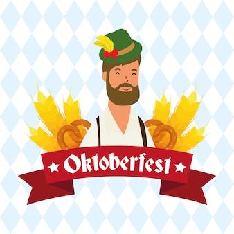 German man bearded wearing tyrolean suit character vector illustration design