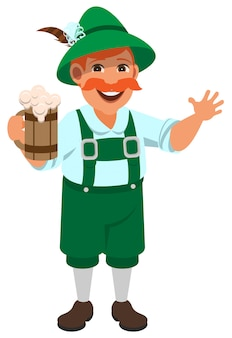 German man in national retro clothes holding wooden mug of beer