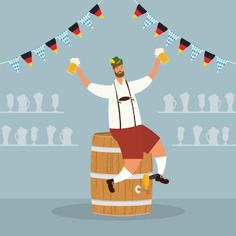 Немецкий мужчина в тирольском костюме пьет пиво, сидя в векторной иллюстрации дизайна бочки
