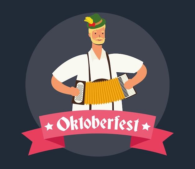 Немецкий мужчина в тирольском костюме играет на аккордеоне, векторная иллюстрация дизайн