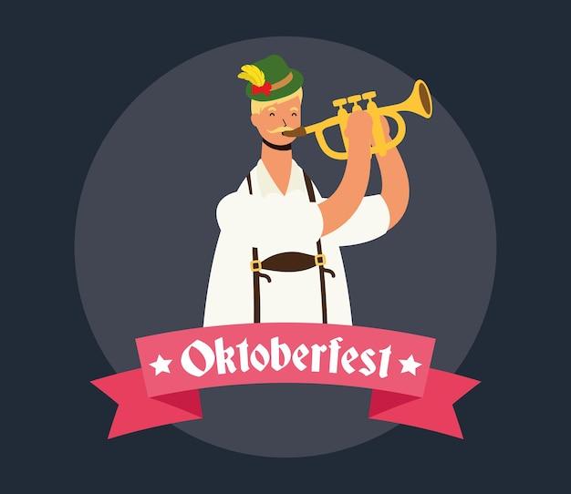 Немецкий мужчина в тирольском костюме играет на трубе векторная иллюстрация дизайн