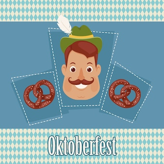 German man with pretzels on bavarian background
