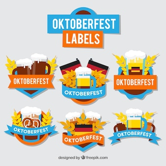 German party labels with flat design