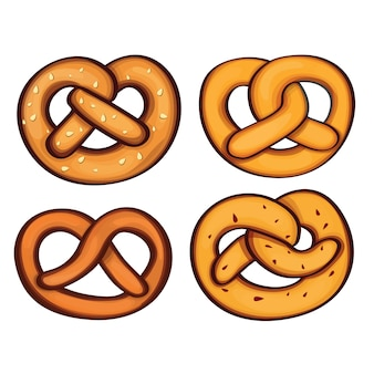 German pretzel icon set