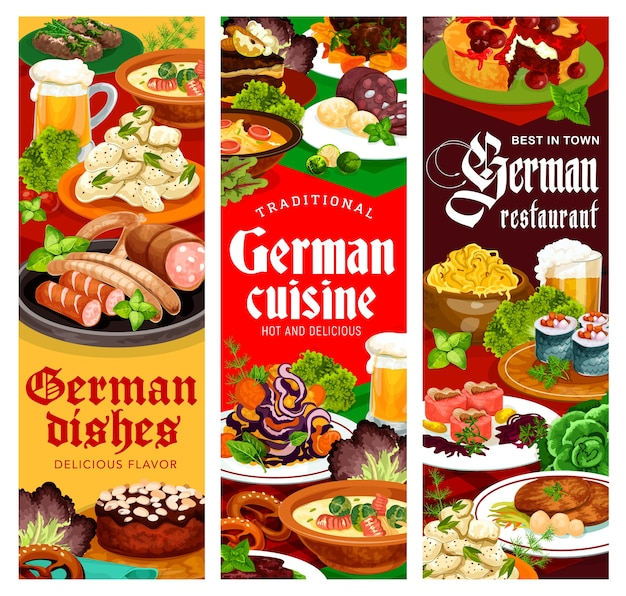 German restaurant dishes  banner. german soup with sausages and stuffed herring rollmops, cabbage, cheese and potato salads, labskaus beef, bavarian and hamburg steak, almond cake and cherry pie