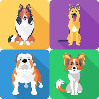 ジャーマンシェパードと英語ブルドッグ犬種の顔アイコンフラットデザイン