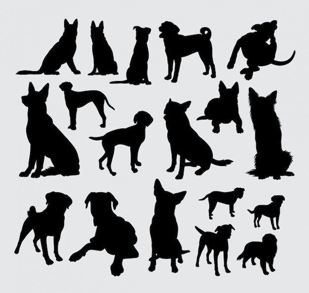 German shepherd and dalmatian dog silhouette.