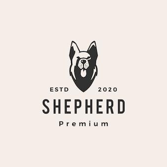 German shepherd dog hipster vintage logo icon illustration