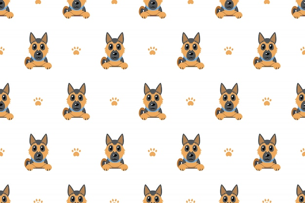 German shepherd dog seamless pattern background