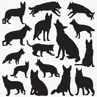German shepherd dog silhouettes