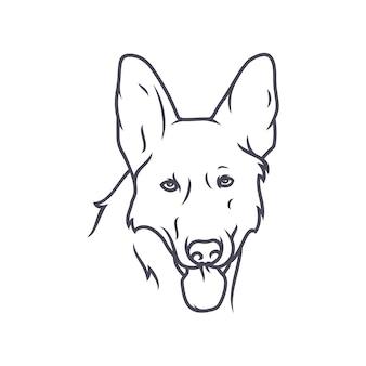 ドイツのシェパードドッグ - ベクターロゴ/アイコンイラストマスコット
