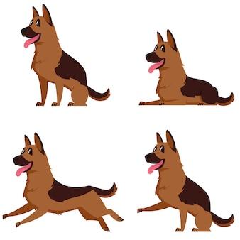 Немецкая овчарка в разных позах. красивая собака в мультяшном стиле.