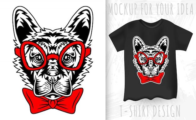 독일 셰퍼드 강아지 얼굴 복고 스타일입니다. 빈티지 스타일의 티셔츠 인쇄를위한 디자인 아이디어.