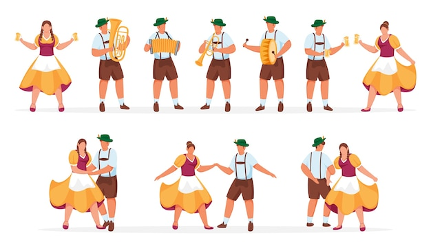 German traditional man and woman illustrations