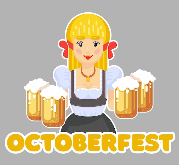 German woman with beer. oktoberfest logo design. girl waitress in traditional clothes. flat   illustration
