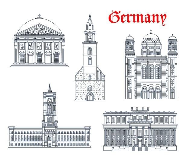 Архитектура германии, здания берлина и исторические достопримечательности, векторные иконки. церковь мариенкирхе, дворец rotes rathaus и kronprinzenpalais, собор святой ядвиги и новая синагога берлина