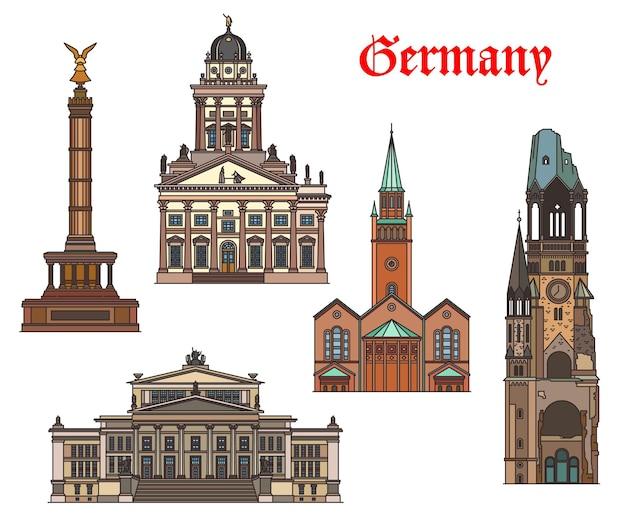Архитектура германии, достопримечательности и здания берлина, векторные немецкие церкви и соборы. st matthaus kirche, колонна победы и французский собор, концертхаус и мемориальная церковь кайзера вильгельма