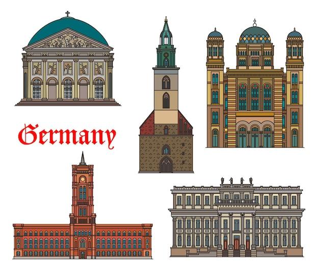 Германия, здания архитектуры берлина и туристические достопримечательности, вектор. немецкая историческая церковь святой марии, собор святой ядвиги и красная ратуша, дворец наследного принца и новая синагога берлина, германия