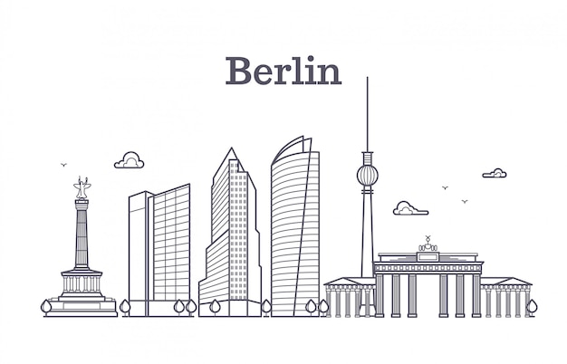 Germany berlin line vector landscape