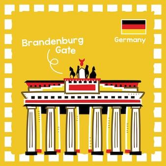 귀여운 우표 디자인으로 독일 브란덴부르크 문 랜드마크 그림