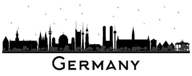 Силуэт горизонта города германии с черными зданиями. векторные иллюстрации. деловые поездки и концепция туризма с исторической архитектурой. городской пейзаж германии с достопримечательностями.