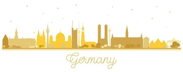 황금 건물 독일 도시 스카이 라인 실루엣입니다. 삽화