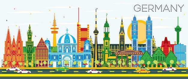 Горизонты города германии с цветными зданиями и голубым небом. векторные иллюстрации. деловые поездки и концепция туризма с исторической архитектурой. городской пейзаж германии с достопримечательностями.