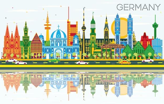 Горизонты города германии с цветными зданиями, голубым небом и размышлениями. векторные иллюстрации. деловые поездки и концепция туризма с исторической архитектурой. городской пейзаж германии с достопримечательностями.