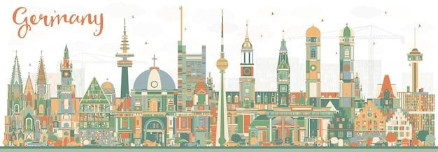 색상 건물이 있는 독일 도시의 스카이라인. 벡터 일러스트 레이 션. 역사적인 건축과 비즈니스 여행 및 관광 개념입니다. 랜드마크가 있는 독일 풍경입니다.