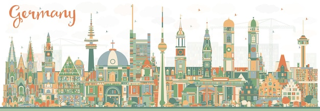 Germany city skyline with color buildings. vector illustration. business travel and tourism concept with historic architecture. germany cityscape with landmarks.