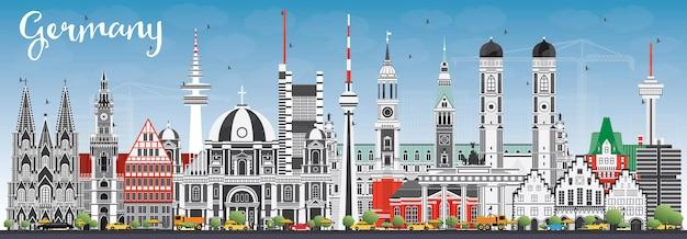 Горизонт города германии с серыми зданиями и голубым небом. векторные иллюстрации. деловые поездки и концепция туризма с исторической архитектурой. городской пейзаж германии с достопримечательностями.