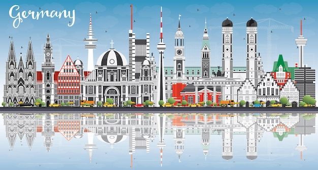 회색 건물, 푸른 하늘 및 반사와 독일 도시의 스카이 라인. 벡터 일러스트 레이 션. 역사적인 건축과 비즈니스 여행 및 관광 개념입니다. 랜드마크가 있는 독일 풍경입니다.