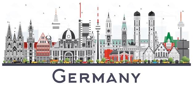 흰색 배경에 고립 된 회색 건물 독일 도시의 스카이 라인. 벡터 일러스트 레이 션. 역사적인 건축과 비즈니스 여행 및 관광 개념입니다. 랜드마크가 있는 독일 풍경입니다.