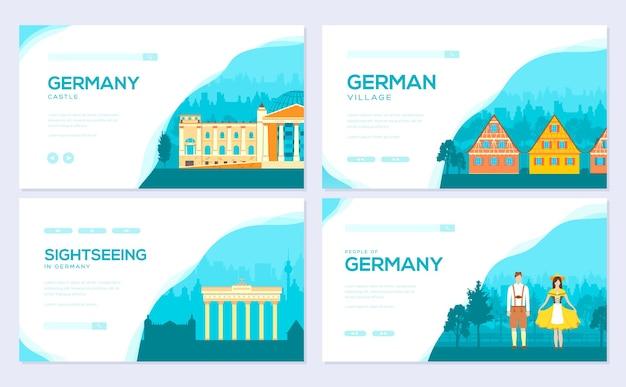 독일 국가 장식 여행 여행 개념. 전통적인 기념물 브로셔 카드 세트.