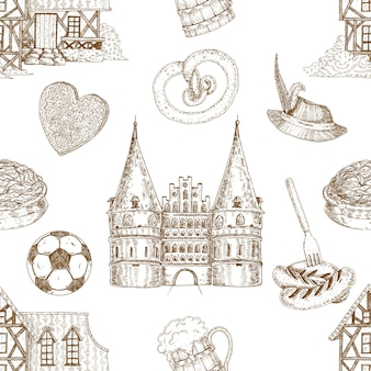 Germany drawn seamless pattern