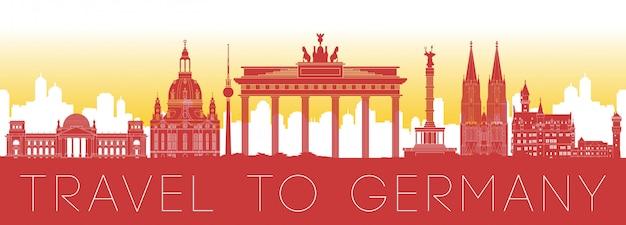 Germany famous landmark silhouette design