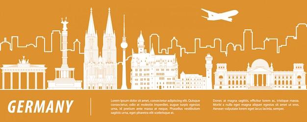 Germany famous landmark silhouette