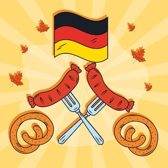 독일 국기와 소시지