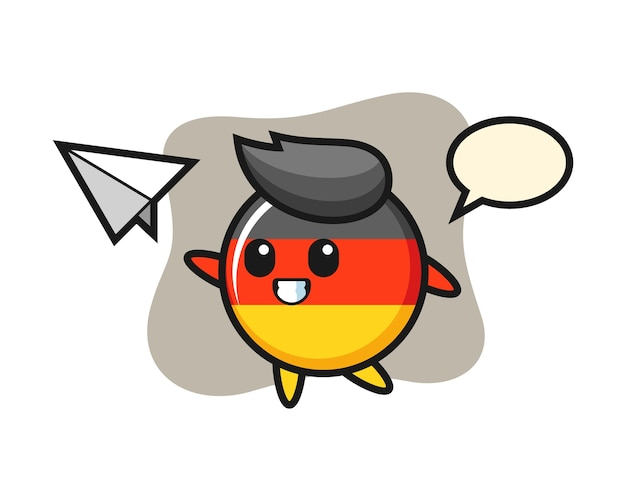 Germany flag badge cartoon character throwing paper airplane