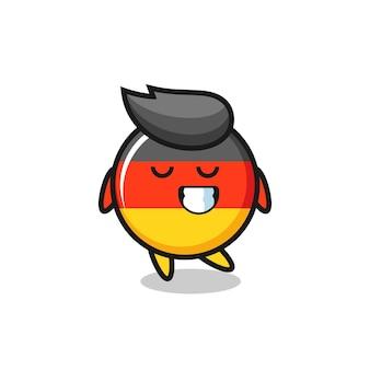 수줍은 표정으로 독일 국기 배지 만화 삽화, 티셔츠, 스티커, 로고 요소를 위한 귀여운 스타일 디자인
